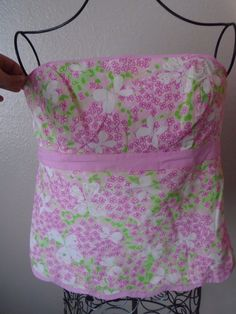 LILLY PULITZER 100% Cotton Pink Green Flower Butterfly Strapless Blouse Top sz10…