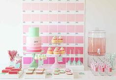Dessert table, cake, and backdrop | 18 Colorful Pantone Projects