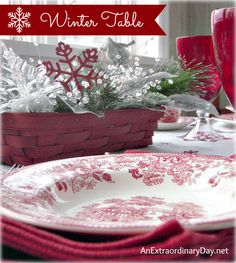 Winter Table Setting Theme | Red Dishes & Red Snowflakes | AnExtraordinaryDay.net