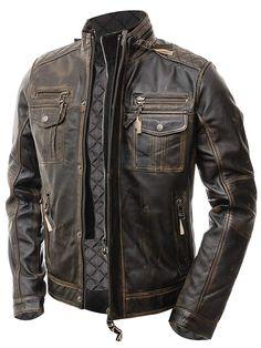 Men/'s DUEL TRUCKER Brown Italian Lambskin Classic Simple Western Leather Jacket