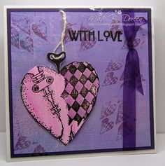"""""""Punky Hearts""""  I used one of my Gelli Plate papers for this card and just overstamped with the hearts.My main image has been clear embossed with black Versafine ink and then coloured with distress inks Seedless Preserves and Spun Sugar. - by Doreen"""