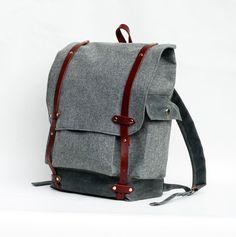 The Wayfarer Backpack in Gray Wool. $285.00, via Etsy.