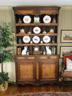 Antique French Country Hutch Cupboard Carved Dark Oak ~ Shell Carving #FrenchCountryProvincial #Craftsmenofthatera