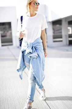The Coolest Ways to Wear Your Jeans and Sneakers via @WhoWhatWear