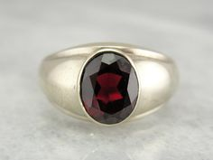 White Gold and Outstanding Garnet Ring for Man or Woman, Vintage Retro Era