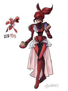 Pokemon Gijinka 212. Scizor >> Scyther gijinka