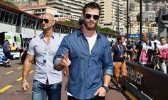 Peace! Racing fan Chris Hemsworth was spotted in the Pitlane during the Monaco Formula One Grand Prix.