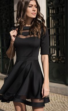 Black Short Sleeve O-neck Vintage Dress