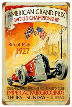 $58.97 Retro American Grand Prix Tin Sign 16 x 24 Inches