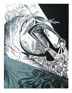 Spirit - an original lino print of a horse head in moonlight