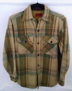 b097750fe718e Vtg 60s Kings Road Sears Mens CPO Heavy Field Shirt S Green Plaid Wool  #Sears