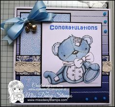 Patches Teddy - Jennifer Nilsson Art on card sample designed by Lorraine  www.coldwaters2.blogspot.com