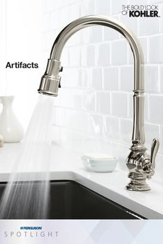 The task-oriented faucets of the @kohlerco Artifacts kitchen collection feature multifunction sprayheads that help make prepping, cooking and cleanup easier. For example, the Sweep spray features specially angled nozzles that create a forceful blade of water to sweep away stuck-on food from dishes.