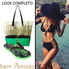 Complete o look. Na praia, na cidade, Bem Amada está sempre com você. Confira na Adoro Presentes tudo que você precisa para fazer o seu dia tropical ficar mais fashion. #AdoroPresentes #Tropical #BemAmada #moda #fashion #verde #Folhagem #Sandália #Bolsa