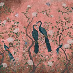 The beut x Coordonne Core Edo Wallpaper is a stunning reinvention of the classic Edo Wallpaper by the Spanish design company, Coordonne. Styled onto a dusky pink backgroun Chinoiserie Wallpaper, Pink Wallpaper Decor, Mood Wallpaper, Luxury Wallpaper, Spanish Design, Mystique, Colorful Birds, Indian Art, Designer Wallpaper