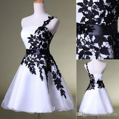 Real Image Black White Tulle Homecoming Short Prom Dresses Appliques One Shoulder Mini Cocktail Bridal Party Gowns 2014 Cheap HY Under$50 Online with $71.21/Piece on Jianchi7799's Store | DHgate.com