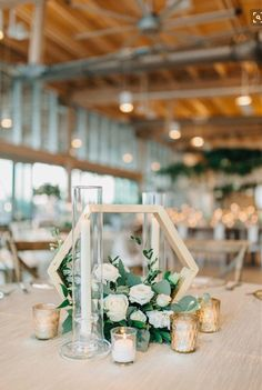 Modern gold and geometric wedding with greenery wedding decor 20 Modern Geometric Wedding Centerpieces Table Decoration Wedding, Wedding Table Centerpieces, Centerpiece Ideas, Modern Wedding Decorations, Modern Wedding Ideas, Wedding Table Centres, Terrarium Centerpiece, Modern Centerpieces, Greenery Centerpiece