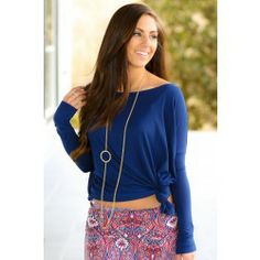 PIKO:Just About Anywhere Blouse-Navy - $32.00