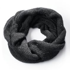 Simply Vera Vera Wang Cable-Knit Sequined Cowl Scarf, Black #VeraWang #Scarf