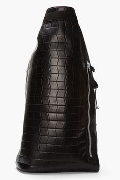 LANVIN Black leather quilted military-style duffle