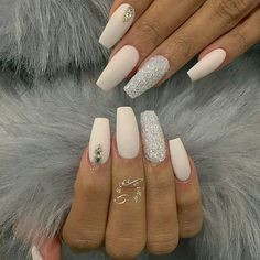 Nude nails, coffin nails, wedding nails, prom nails, nails nails on. Fabulous Nails, Gorgeous Nails, Pretty Nails, Nude Nails, Glitter Nails, Acrylic Nails, Coffin Nails, Hair And Nails, My Nails