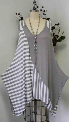 Elegant Plus Size Stripe Pattern Sleeveless Over Layering Tunic, Boho, Travel, Comfort.