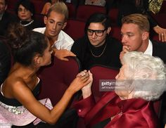 Singer Ariana Grande, TV personality Frankie J. Grande, DJ Skrillex, DJ Diplo and Marjorie 'Nonna' Grande attend the 2015 American Music Awards at Microsoft Theater on November 22, 2015 in Los Angeles, California.