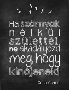 szarnyak-nelkul-coco by boldcolorglass, via Flickr Famous Quotes, Best Quotes, Positive Quotes, Motivational Quotes, Lol So True, Jokes Quotes, Coco Chanel, Cool Words, Quotations