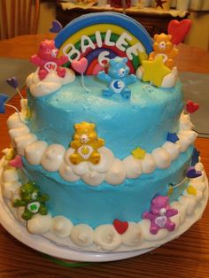 - buttercream frosting fondant stars and hearts carebears