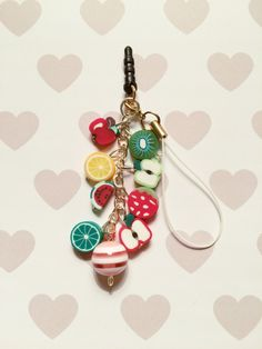 Fruit Cell Phone Charm: Dust Plug or Strap by strawberriesncreamm on Etsy