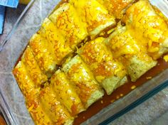 Easy (cheating) enchiladas. I buy the mini beef and cheese frozen chimis (or any burrito or chimi you like) and cover it in enchilada sauce, cheese and bake for the time on the back of the chimichanga bag. Super fast and super easy!