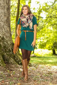 EVERLY: Bundle Up Closely Dress-Hunter - All Dresses