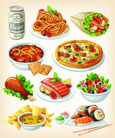 Set of food icons vectors 05