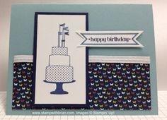 Make a [Birthday] Cake  Make a Cake, Stampin' Up, Itty Bitty Banners, Patio Party DSP