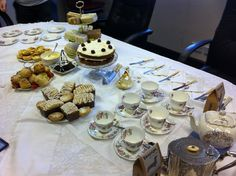 afternoon tea can be displayed on one table for a smaller group or on a selection of tables around the roof terrace for a larger party