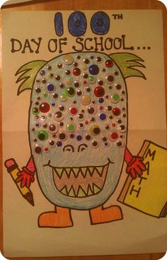 100th Day Of School Project.. 100-Eyed Monster. My 6 year old son & I made this together.