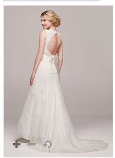 David\'s Bridal Cap-Sleeve Slim Gown with Keyhole Back Style VW9768 ...