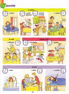relevant pictures for teaching daily routine French Teaching Resources, Teaching French, French Language Lessons, French Lessons, Learning Spanish For Kids, Learn Spanish, French Tenses, French Numbers, French Worksheets