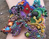Multicolour Freeform Peyote Beaded Cuff Bracelet