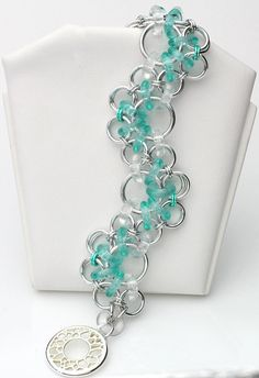 Chain Maile Wave with Crystals Bracelet