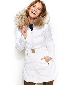 Laundry by Shelli Segal Faux-Fur-Hooded Down Puffer Coat  LOVE the inside of this one.