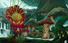 """""""Tree Village"""" Concept art for Kingdoms of Amalur - Sean Andrew Murray"""