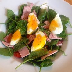 Lunch today is a spinach salad with a slice of ham and soft boiled egg w/ a lemon mustard dressing  #cleaneating #protein #lowcarb #salad #saladideas #egg #weekend #health #nutrition #nourish #backonthewagon #weightloss #lean #fitspo #foodspo #fitness #fitfamuk #restday by foodspo____