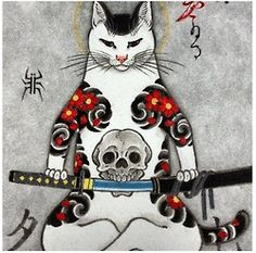 cat japan tattoo skull ink skeleton snake Asia dragon samurai koi fish horitomo tattooed cat