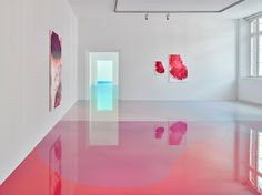 conceptual artist Peter Zimmermann floor installations of reflective epoxy resin