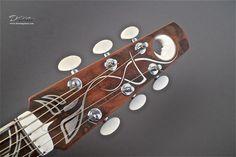 2010 Klein Guitars Pink Ivory Moon -  Acoustic Guitar - Pink Ivory with Handcarved Ivory Moon Inset Carved by Ron Fromkin Headplate Custom Silver Inlay Design by German Art Nouveau artist Peter Behrens. Solid Ivory Carved Moon by Ron Fromkin Inlay
