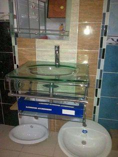Muebles para baño en vidrio completos con espejo.3125012019