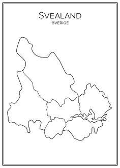 Svealand. Landsdelar. Sveriges landsdelar. Map. City print. Print. Affisch. Tavla. Tryck. Stadskarta. City Print, Print Print, Hem, Grey's Anatomy, Teaching Tools, Social Studies, Sweden, Bullet Journal, Posters