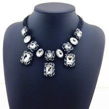 Hot Sale Statement Necklace Big Charm Glam Colorful Crystal Necklaces & Pendants Chunky Choker Thick Women Fashion Necklace
