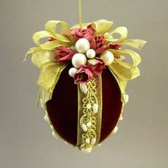 """Mrs. McCray's Rose Garden"" by Towers and Turrets - Burgundy Wine Red Velvet Fabric Egg Christmas Ornament with Parchment Paper Roses - Victorian Inspired, Handmade Towers and Turrets"